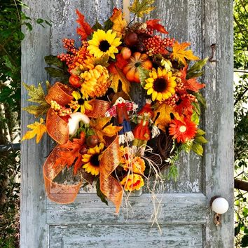 Large Fall Wreath, Size 18 Inches, Fall Wreath For Front Door, Scarecrow Wreath, Thanksgiving Decor, Harvest Wreath, Fall Leaf Wreath