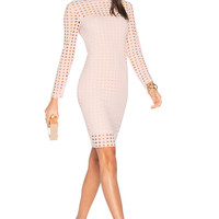 T by Alexander Wang Circular Hole Long Sleeve Dress in Blush | REVOLVE