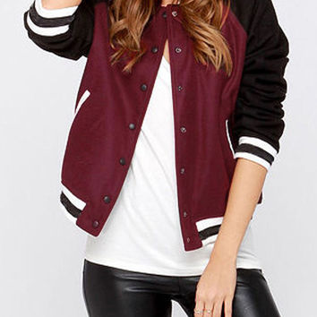 Burgundy Bomber Jacket