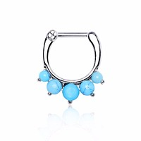 316L Surgical Steel Princess Septum Clicker with Turquoise