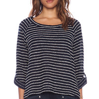 Splendid Madison Stripe Boucle Sweater in Blue