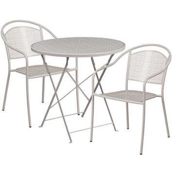 30'' Round Light Gray Indoor-Outdoor Steel Folding Patio Table Set with 2 Round Back Chairs
