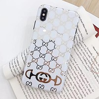 GUCCI Popular Couple Phone Cover Case For iphone 6 6s 6plus 6s-plus 7 7plus iPhone8 iPhone X XR XS XS MAX White