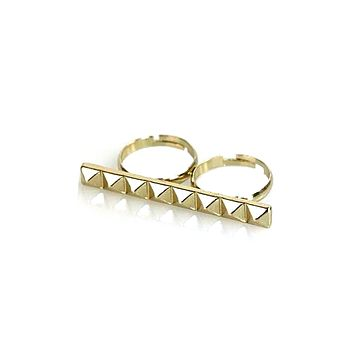 Two Finger Pyramid Bar Accent Ring in Gold or Silver