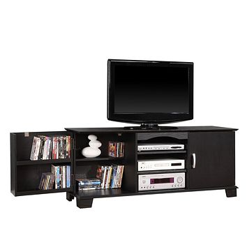 """60"""" Black Wood TV Stand Console"""