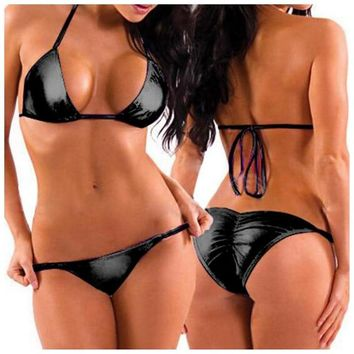 Sexy Women Two-Piece PU Leather Bikini Swimsuit Mini Triangle Thongs+Bra Tops,Lacing Adjust Cute Bathing Bikinis Set Swimwear