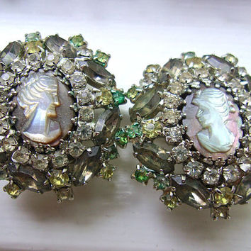 HOBE' Carved Cameo Abalone Earrings, Gray Rhinestones, Vintage