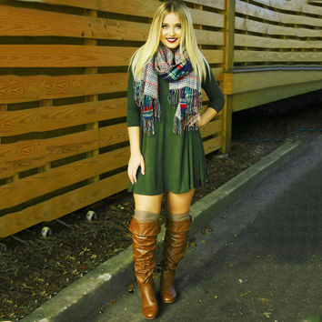 Army Green Back Strap Mini Dress