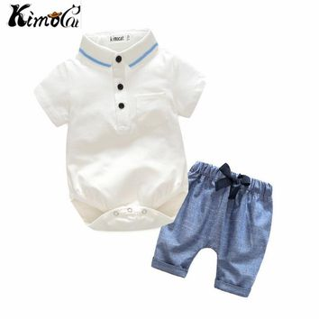 Kimocat Newborn Baby Boy Clothes Set Birthday Christening Cloth Infant Baby Boys Formal Wedding Clothes Suit +T-shirt+Pant