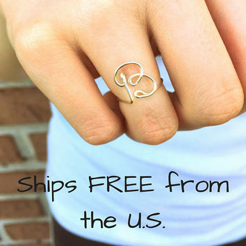 Custom initial ring, letter ring, personalized jewelry, best friend gift, dainty silver ring, minimal ring, uppercase or lowercase ring