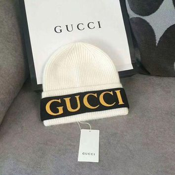 Gucci Woman Fashion Beanies Winter Embroidery Logo  Hat Cap White