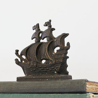 Sailing the High Seas - Vintage Book End - Vintage Door Stop - Vintage Home Decor - Nautical - Cast Iron - Ship - Father's Day