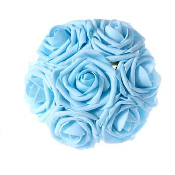 Light Blue Artificial Flowers 50pcs Real Looking Roses with Stems for Wedding Bouquets Centerpieces Party Baby Shower Decorations DIY
