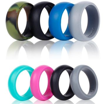 4 Silicone Wedding Band Ring Women Men Safe Flexible Rubber Sports Ring Fitness