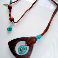 Geometric Wood and Turquoise Pendant with Leather Cord Adjustable Necklace, OOAK Artisan Boho Style Pendant with Turquoise and Silver Beads