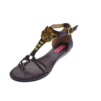 Betsey Johnson Womens Kahluua Embossed Thong T-Strap Sandals