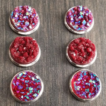 Druzy earring set- Maroon love drusy stud set - druzy earrings