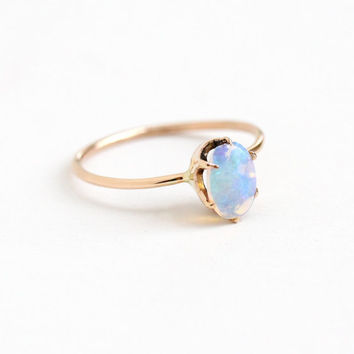 Antique 10k Rose Gold Jelly Opal Ring -  Edwardian Oval Colorful Blue, Purple, Green Gem Size 7 Stick Pin Conversion Ring Fine Jewelry
