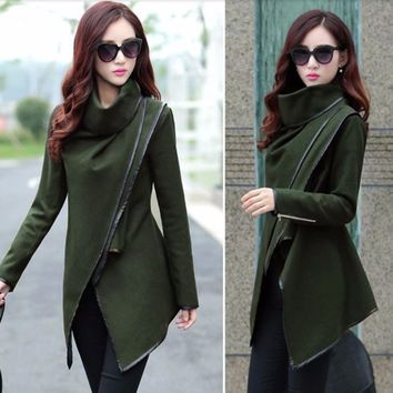 Slim Cross Turleneck Women Trench Cape Coat