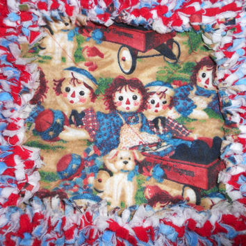 Raggedy Ann &  Andy Baby Quilt - Red and Blue Flannel Rag Quilt - by Sew Fun Quilts