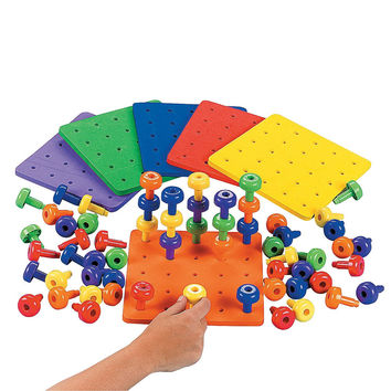 Stack It Peg Game With Board Occupational Therapy Autism Fine Motor Skills by Fun Express '