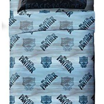 Jay Franco Marvel Black Panther Blue Tribe Twin Sheet Set - 3 Piece Set Super Soft Kid's Bedding - Fade Resistant Polyester Microfiber Sheets (Official Marvel Product)