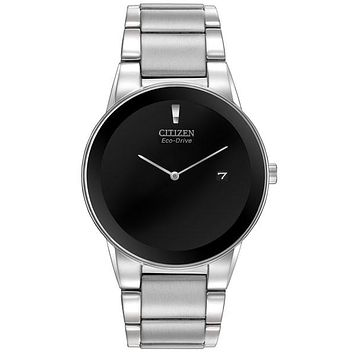 Citizen Eco-Drive Axiom Mens Dress Watch - Black Dial - Steel Case & Bracelet