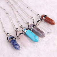 Natural stone pendant Bullet jade suspension Color Quartz necklaces & pendants Fashion Jewelry choker necklace  Bijoux Chain
