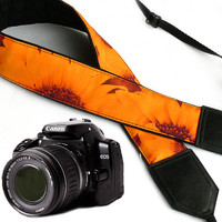 Sunflowers Camera strap.  Flowers camera strap.  DSLR Camera Strap. Camera accessories. Canon camera strap. Nikon camera strap