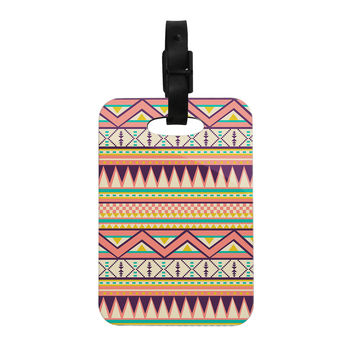 "Louise Machado ""Ethnic Love"" Tribal Geometric Decorative Luggage Tag"