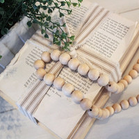 Farmhouse Decorative Wooden Beaded Garland