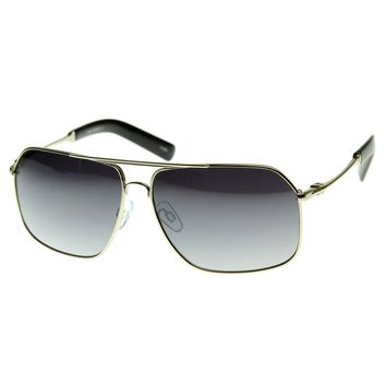 Premium Style Metal Asian Fit Optical Quality Eyewear Aviator Sunglasses