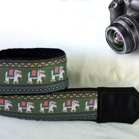 Lucky Elephants Camera Strap. Ethnic Camera Strap,  Camera Accessories.