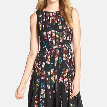 Petite Women's Adrianna Papell 'Fractured Floral' Print Fit & Flare Dress,