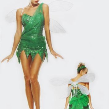 Halloween costumes for women elf Tinker Bell cosplay costume Fairy Princess dress Elves fancy dress kids clothes with wings