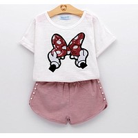 Baby Girls Clothes Kids Set Fashion Bow Short Sleeve T-Shirt +Pant Baby Girls Clothing Set Kids Cartoon Clothes Set