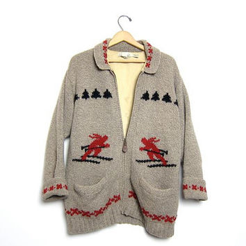 Cowichan Skiing Sweater Zip Up Wool Blanket Coat Thick Knit Oatmeal Brown Sweater Pockets Medium