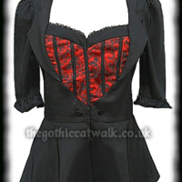Black Fitted Top with Red Damask Front