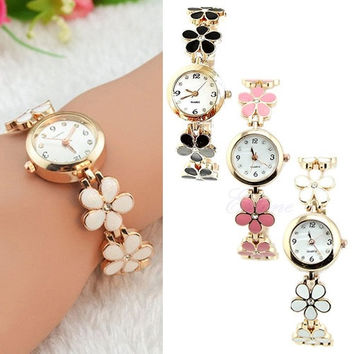 Korean Women Girl Fashion Daisies Flower Rose Golden Bracelet Wrist Watch = 1958234372