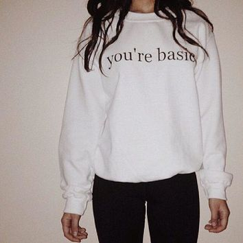 MDIGJ1A [you are basic] punk hip-hop fun letters printing thickened white sweater men and women