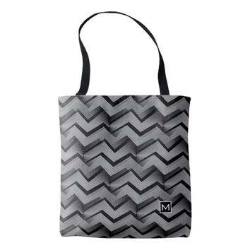 Monogram Retro Abstract Zigzag GS Tote Bag
