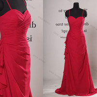 Red Sweetheart Chiffon Long Prom Dress//long evening dress//long bridesmaid dress//bridesmaid dress