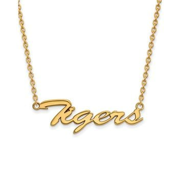 NCAA 14k Gold Plated Silver Louisiana State Medium Pendant Necklace