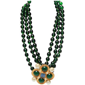 Chanel vintage large green necklace with brooch x4 green giproix stones