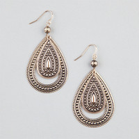 Full Tilt Etched Teardrop Earrings Gold One Size For Women 24195862101
