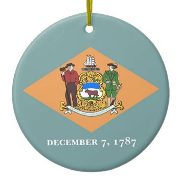 Ornament with flag of Delaware