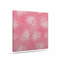 "Julia Grifol ""Paradise Flowers"" Pink White Vector Art Canvas"