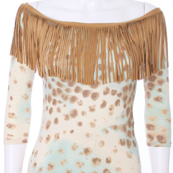 BLUMARINE Leather Fringed Leopard Water Color Knit Top I44 D38 Size Small