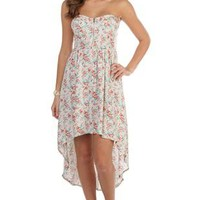 strapless corset style floral printed high low dress - 1000045179 - debshops.com