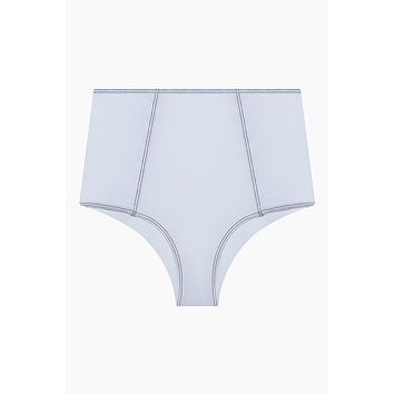 Heather Stitched High Waist Bikini Bottom - White